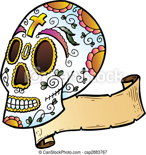 Festival Skull tattoo style illustration - csp2883767