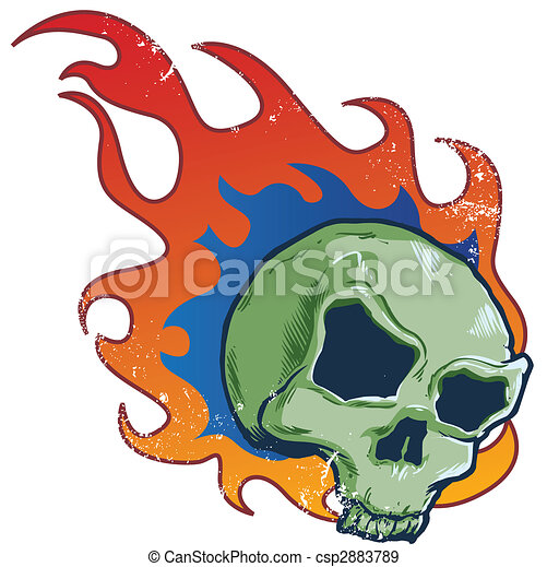 Flaming skull tattoo style vector illustration - csp2883789