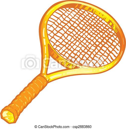 Clipart vecteur de raquette tennis or illustration or - Dessin raquette ...