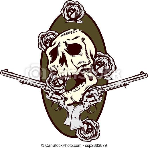 Guns roses and pistols tattoo style illustration - csp2883879