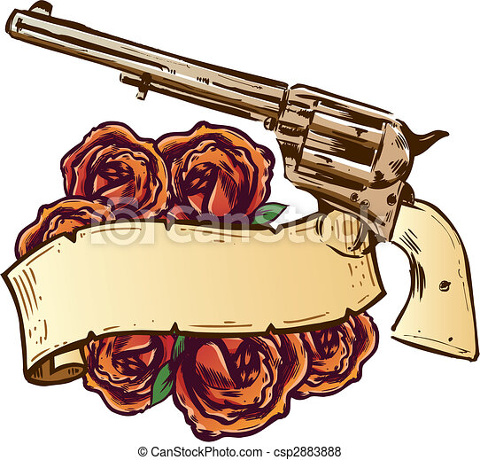 Guns and roses with banner illustration - csp2883888