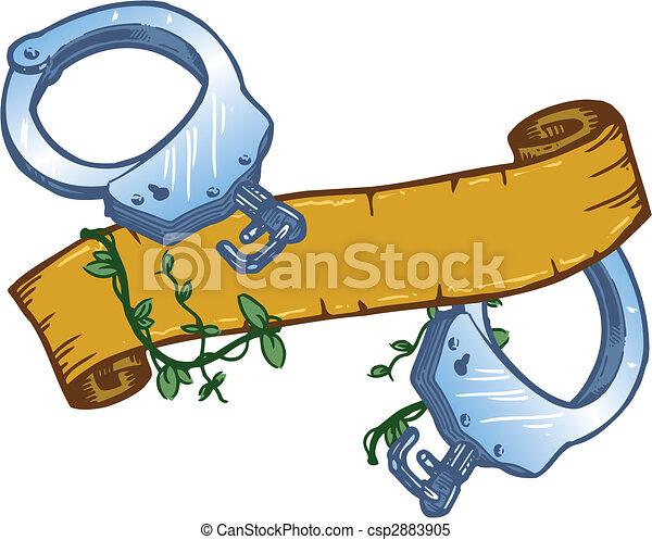 Set Of Broken Handcuffs Vector With Banner - csp2883905