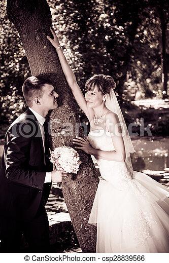 young wedding couple, beautiful bride with groom portrait