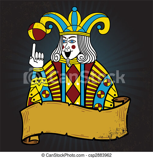 Playing card style Joker illustration - csp2883962