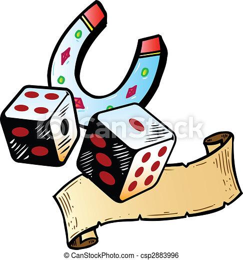Lucky dice with horseshoe tattoo style illustration - csp2883996