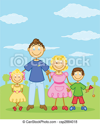 Happy family stick figure style illustration - csp2884018