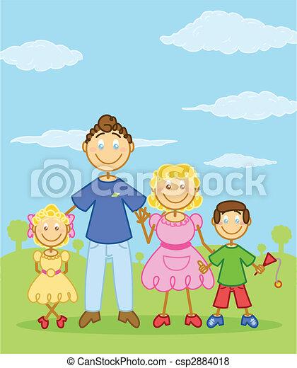 Happy family stick figure style illustration - csp2884018