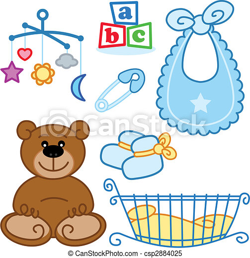 Cute New born baby toys graphic elements. - csp2884025