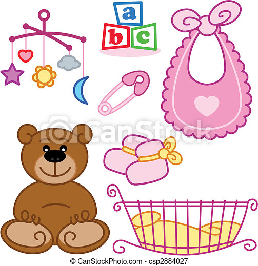 Cute New born baby girl toys graphic elements. - csp2884027