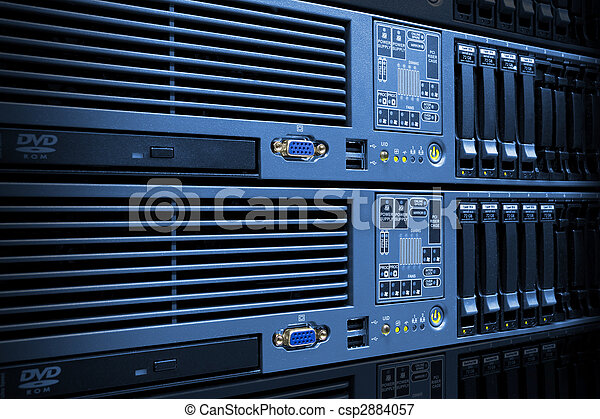 Servers Stack With Disc Drives In Rack - csp2884057
