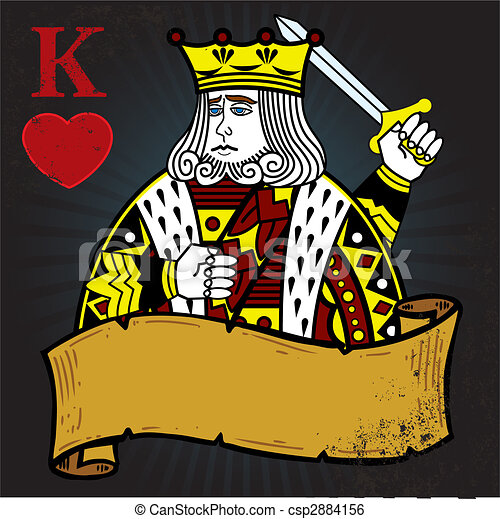 King of Hearts with banner tattoo style illustration - csp2884156