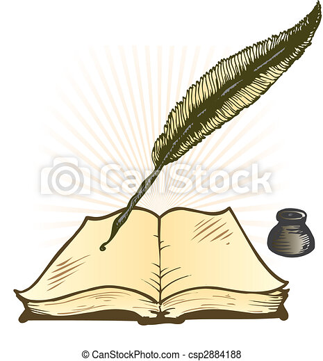 Quill Ink Pot and Open Book Vector Illustration - csp2884188