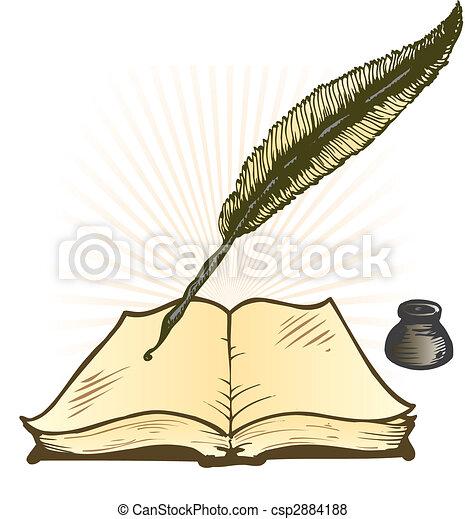 Vektor - madártoll, tinta, edény, Nyílik, könyv, vektor, Ábra