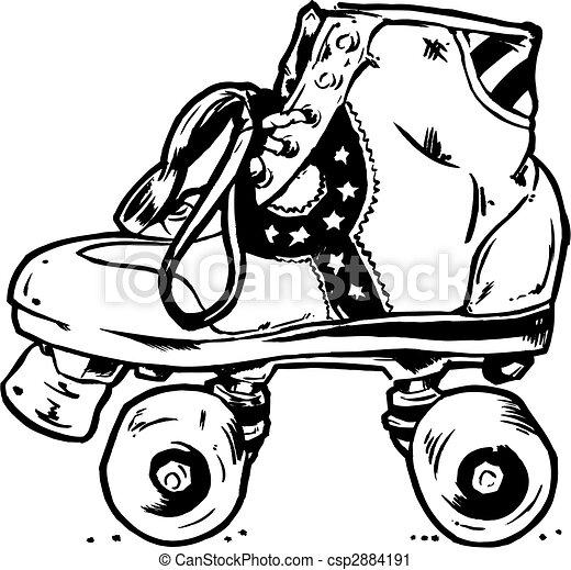 Retro Roller Boots Illustration - csp2884191