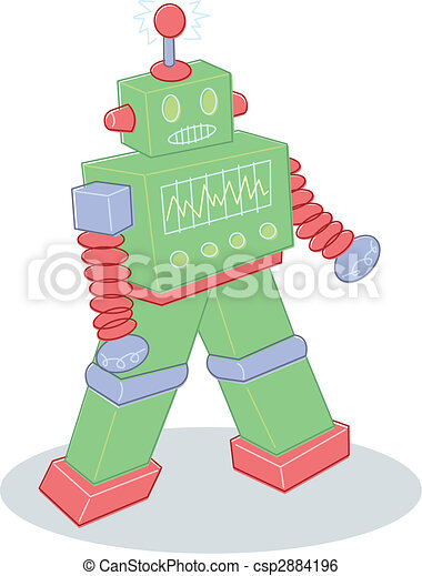 Retro style toy robot illustration - csp2884196