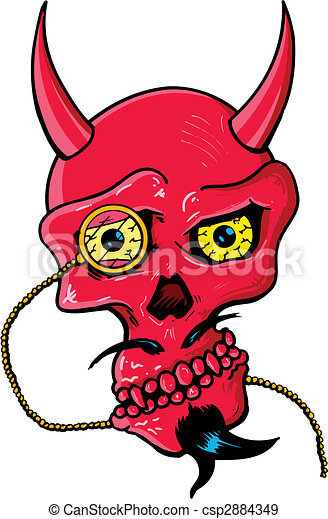 Devil skull with horns and glass eye piece vector illustration - csp2884349