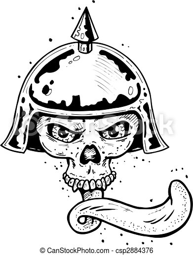 Punk tattoo style skull with helmet and long tongue - csp2884376