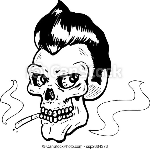 Rock and Roll style skull vector illustration - csp2884378