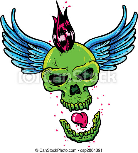 Punk tattoo style skull with wings - csp2884391
