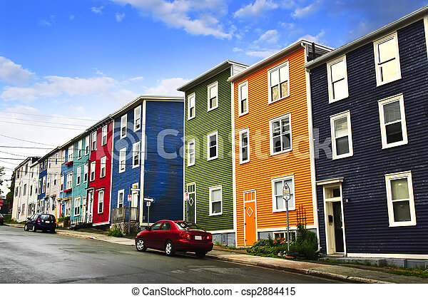 Colorful houses in St. John\'s - csp2884415