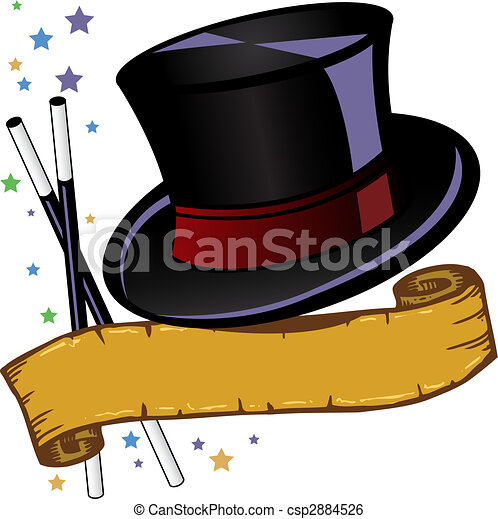 Magic theme top hat and banner vector illustration - csp2884526