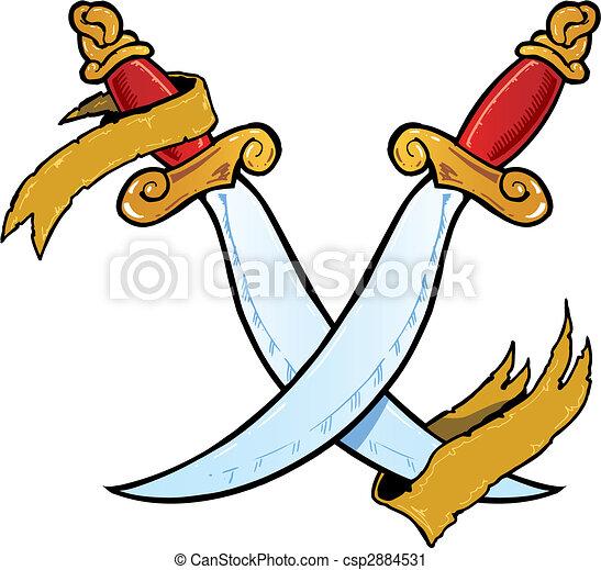 Twin daggers tattoo style vector illustration - csp2884531