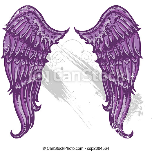 Hand drawn tattoo style wings converted to vecter format - csp2884564