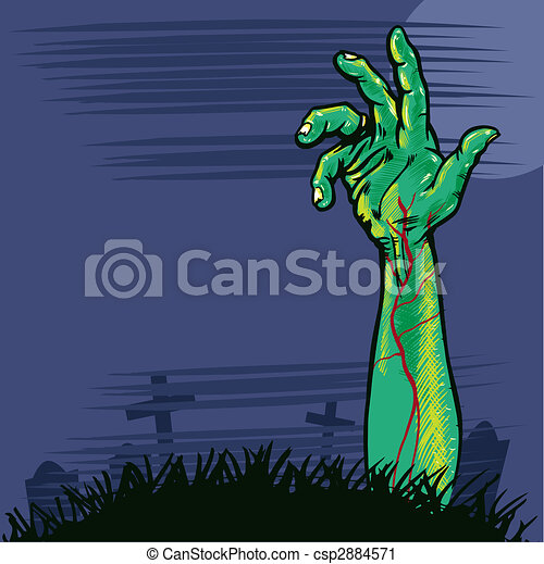 Zombie hand coming out the ground illustration - csp2884571