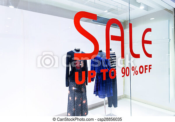 sale word with shop window - csp28856035
