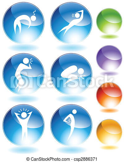 Illness Crystal Icon Set - csp2886371