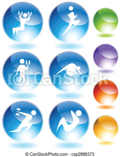 Exercise Crystal Icon Set - csp2886373