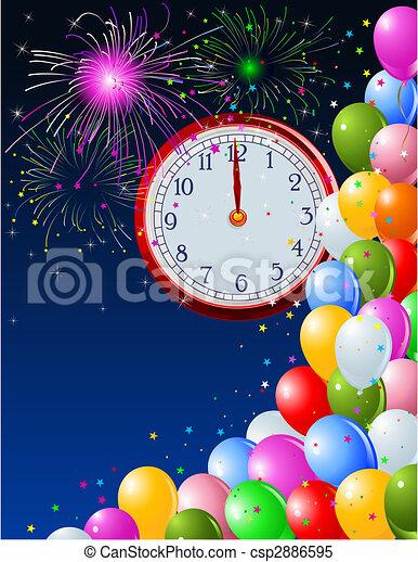 New Year midnight clock background - csp2886595