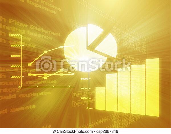 Spreadsheet business charts illustration - csp2887346