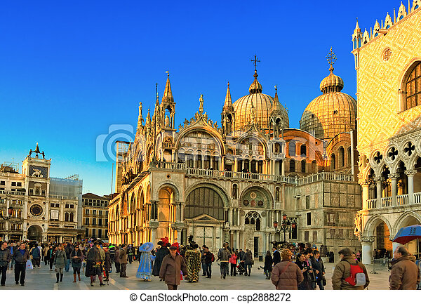 Famous square San Marco in Venice Italy - csp2888272