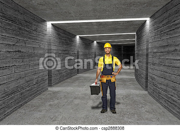 construction worker in concrete tunnel background - csp2888308