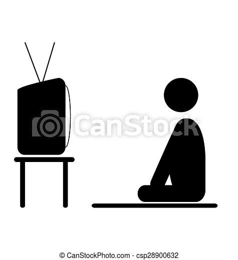 Vectors of Watch TV program man pictogram flat icon ...
