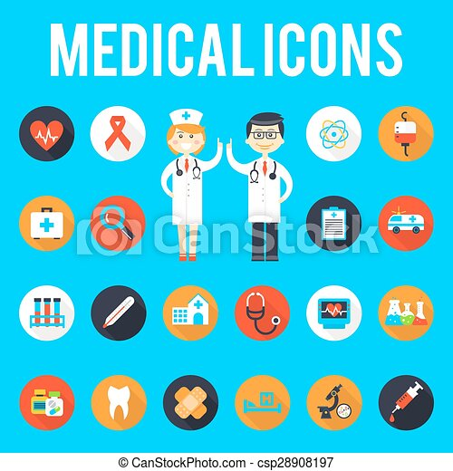 EPS Vectors of Medical tools and medical staff flat icons ...