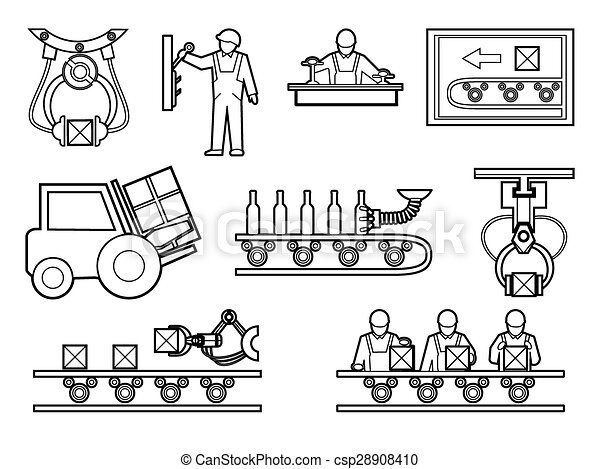 Vector Clip Art of Industrial and manufacturing process icons set ...