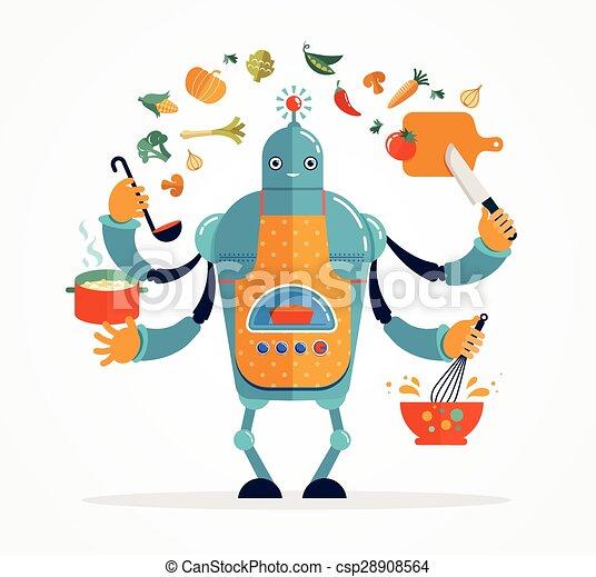 Clip art vecteur de chef cuistot multit che cuisine - Robot qui fait la cuisine ...