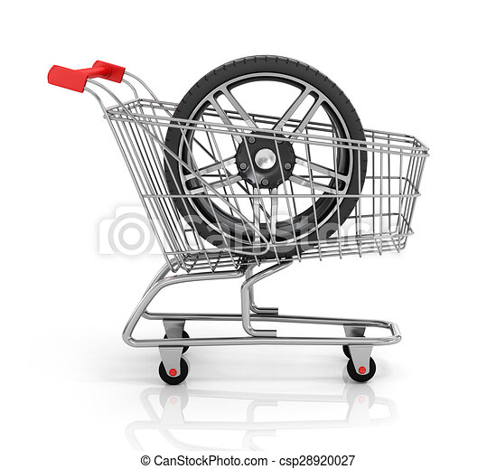 Clip Art of Automobile wheels and shopping cart. Buying auto parts ...