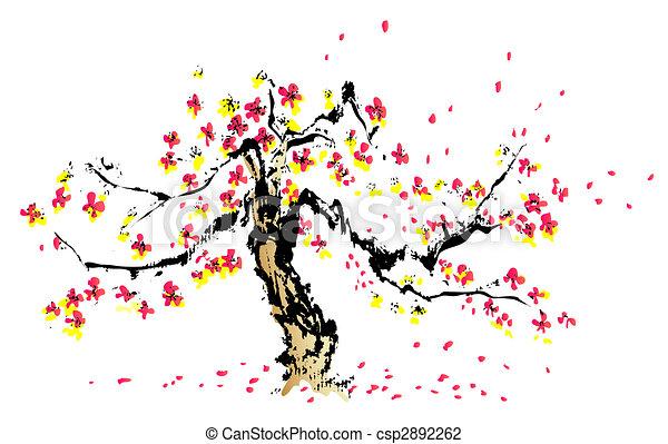 pintura, sakura, chino - csp2892262