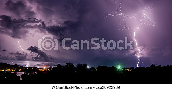 Thunderstorm with lightning bolts