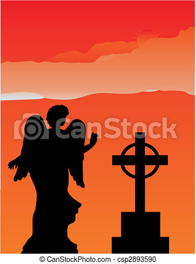 Angel silhouette in the  firey sky... - csp2893590