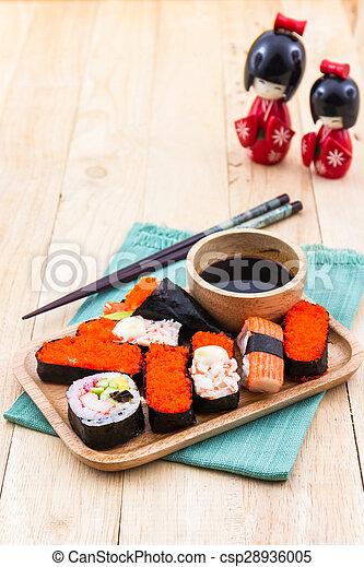 Archivi fotografici di piastra cibo sushi giapponese for Legno giapponese