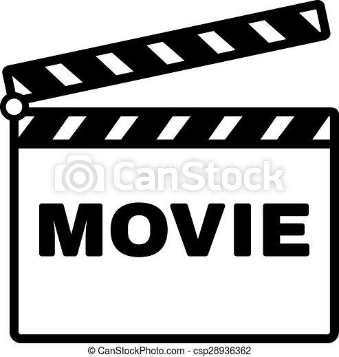 Clip Art Vector of The clapper board icon. Movie symbol. Flat ...