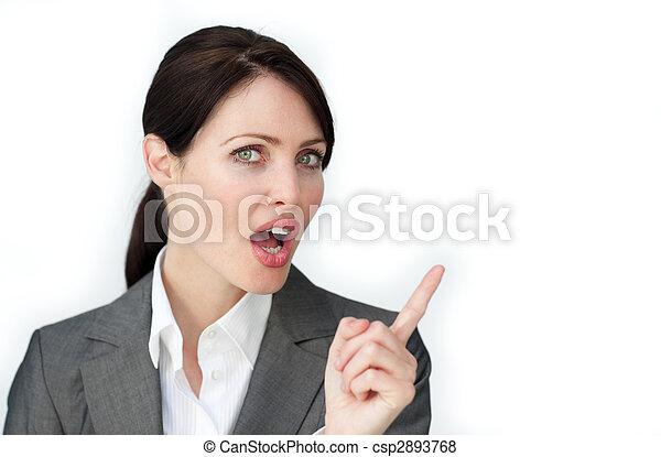 Attractive businesswoman pointing - csp2893768