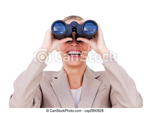 Joyful businesswoman predicting future success through binoculars isolated on a white background - csp2893828