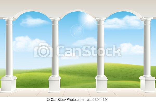 Arch columns meadow - csp28944191