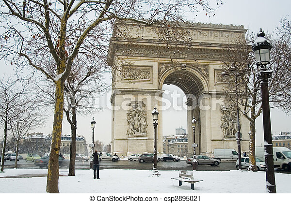 Rare snowy day in Paris. Arc de Triomphe and lots of snow - csp2895021