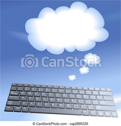 Cloud computing floating computer keys think bubble background - csp2895335